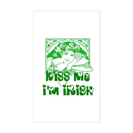 Kiss Me Irish Girl Rectangle Sticker