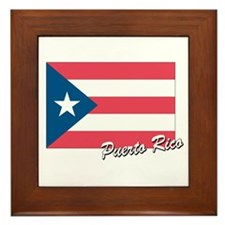 Flag of Puerto rico Framed Tile
