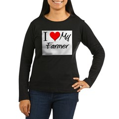 I Heart My Farmer Women's Long Sleeve Dark T-Shirt