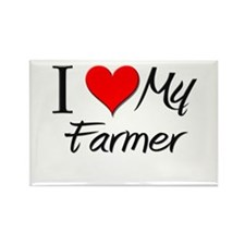 I Heart My Farmer Rectangle Magnet