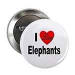 I Love Elephants Button