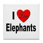 I Love Elephants Tile Coaster