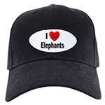 I Love Elephants Black Cap