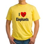 I Love Elephants Yellow T-Shirt