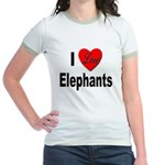 I Love Elephants (Front) Jr. Ringer T-Shirt