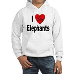 I Love Elephants (Front) Hooded Sweatshirt