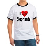 I Love Elephants (Front) Ringer T