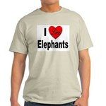 I Love Elephants (Front) Ash Grey T-Shirt