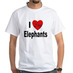 I Love Elephants (Front) White T-Shirt