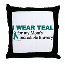 Teal For My Mom's Bravery 1 Throw Pillow