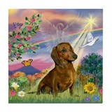 Cloud Angel & Dachshund Tile Coaster