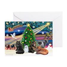 Xmas Magic/5 Persian Cats Greeting Cards (Pk of 20