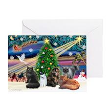 Xmas Magic/5 Persian Cats Greeting Card