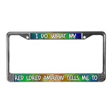 Do what Red Lored Amazon License Plate Frame