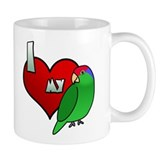Cartoon I Love My Green Cheeked Amazon Mug