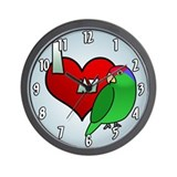 Cartoon I Love My Green Cheeked Amazon Clock