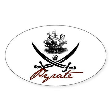 Elizabethan Pyrate Insignia Oval Sticker