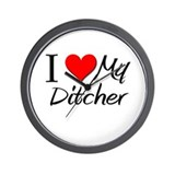 I Heart My Ditcher Wall Clock