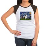 Starry Night / Welsh Corgi Women's Cap Sleeve T-Sh