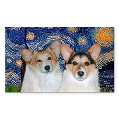 Starry Night / Corgi pair Sticker (Rectangle)