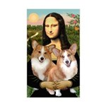 Mona / Corgi Pair (p) Sticker (Rectangle)