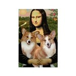 Mona / Corgi Pair (p) Rectangle Magnet