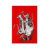Dancing Dragons Rectangle Magnet (Red)