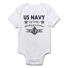 NAVY Daddy defending freedom Infant Creeper