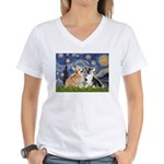 Starry Night / Corgi pair Women's V-Neck T-Shirt