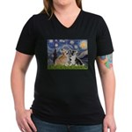 Starry Night / Corgi pair Women's V-Neck Dark T-Sh