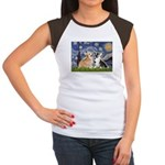 Starry Night / Corgi pair Women's Cap Sleeve T-Shi