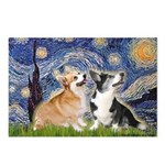 Starry Night / Corgi pair Postcards (Package of 8)