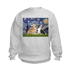 Starry Night / Corgi pair Kids Sweatshirt