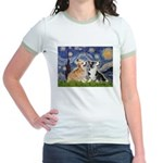 Starry Night / Corgi pair Jr. Ringer T-Shirt