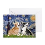 Starry Night / Corgi pair Greeting Card