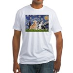 Starry Night / Corgi pair Fitted T-Shirt