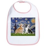 Starry Night / Corgi pair Bib
