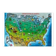 Cute Us map Postcards (Package of 8)