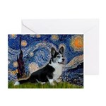Starry Night / Welsh Corgi(bi Greeting Cards (Pk o