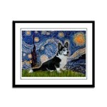 Starry Night / Welsh Corgi(bi Framed Panel Print