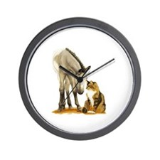 Mini Horses, and cat Wall Clock