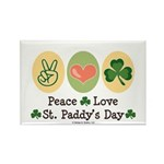 Peace Love St Paddy's Day Rectangle Magnet (100 pa