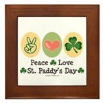 Peace Love St Paddy's Day Framed Tile