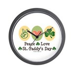 Peace Love St Paddy's Day Wall Clock