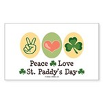 Peace Love St Paddy's Day Rectangle Sticker