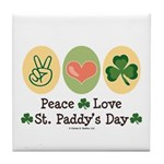 Peace Love St Paddy's Day Tile Coaster