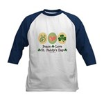 Peace Love St Paddy's Day Kids Baseball Jersey