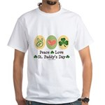Peace Love St Paddy's Day White T-Shirt