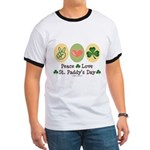 Peace Love St Paddy's Day Ringer T