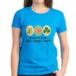 Peace Love St Paddy's Day Women's Dark T-Shirt
